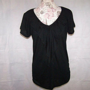 French Laundry Top M Ruffled V-Neck Black Stretch